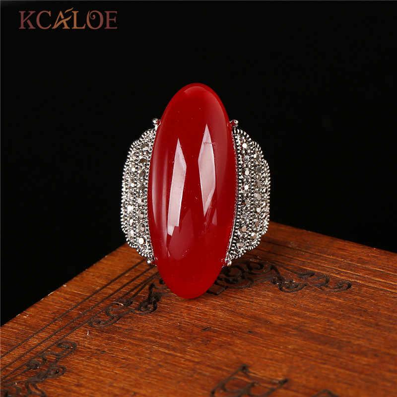 KCALOE โบราณเงินสีเขียวแหวนหินสีแดง Onyx สีเหลืองหินธรรมชาติสีดำ Rhinestone เครื่องประดับ Vintage