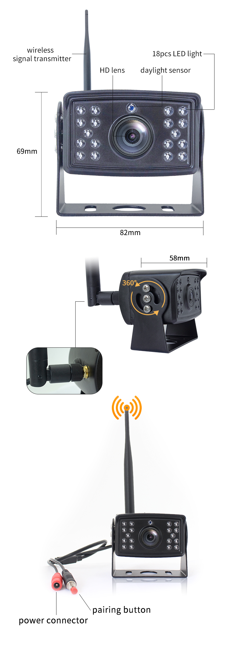 Wireless Rv Truck Trailer Bus Forklift 4 Channel Video Record 7 Inch Monitor Infrared Reverse Backup Quad View Camera System 25