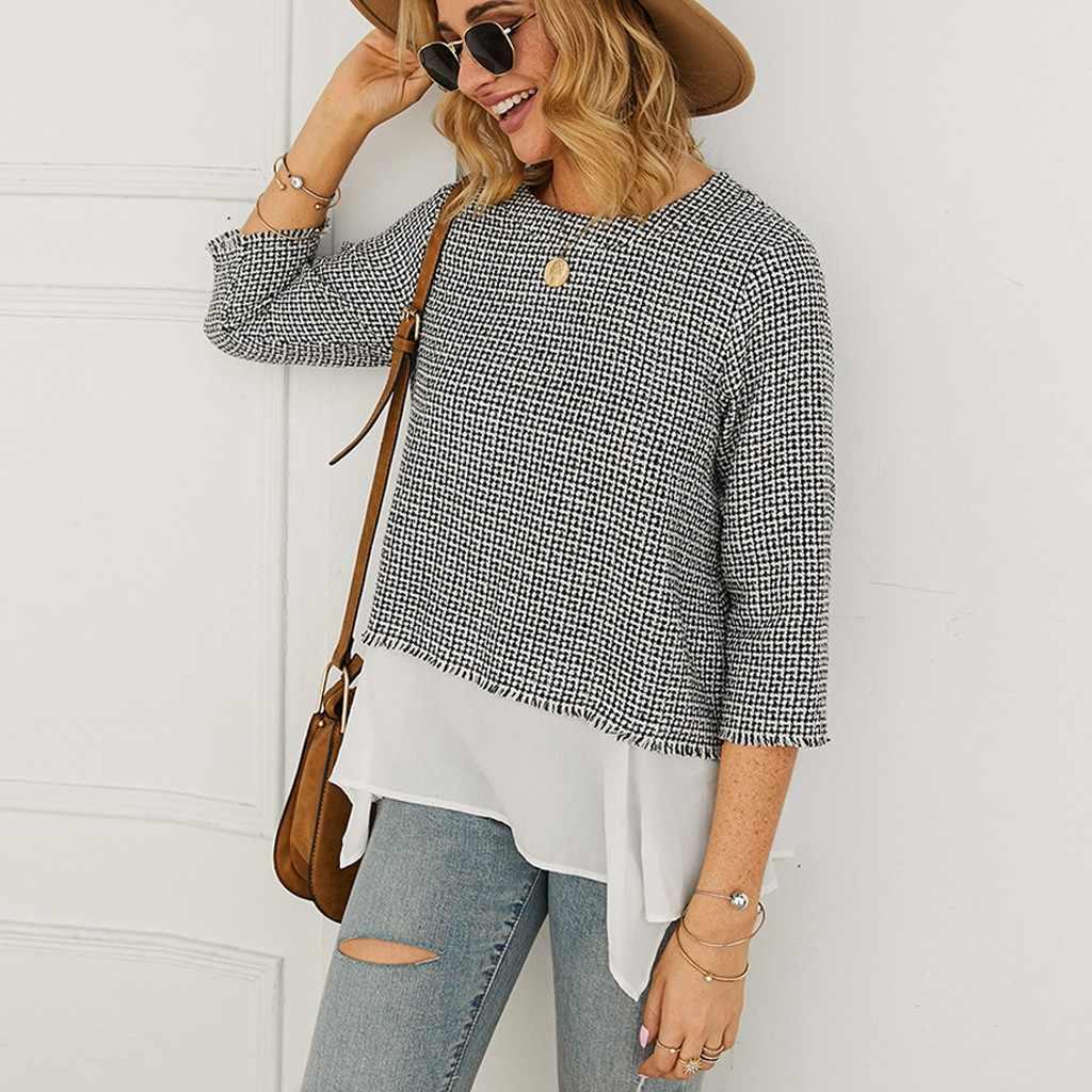 แฟชั่น Splicing แขนยาวเสื้อยืด Streetwear O-Neck เสื้อลำลอง TOP Lady Baggy เสื้อยืด poleras mujer de Moda # Q