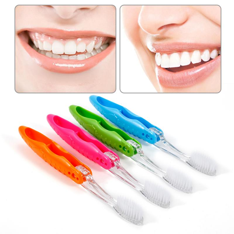 Hot Foldable Travel Toothbrush Camping Outdoor Portable Toothbrush Teeth Dental Care Teeth Cleaning Oral Hygiene Color Random image