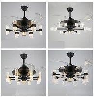 Luzes do ventilador de teto de cristal sala jantar quarto sala estar lâmpadas ventilador controle remoto tensão invisível 220v iluminação do ventilador