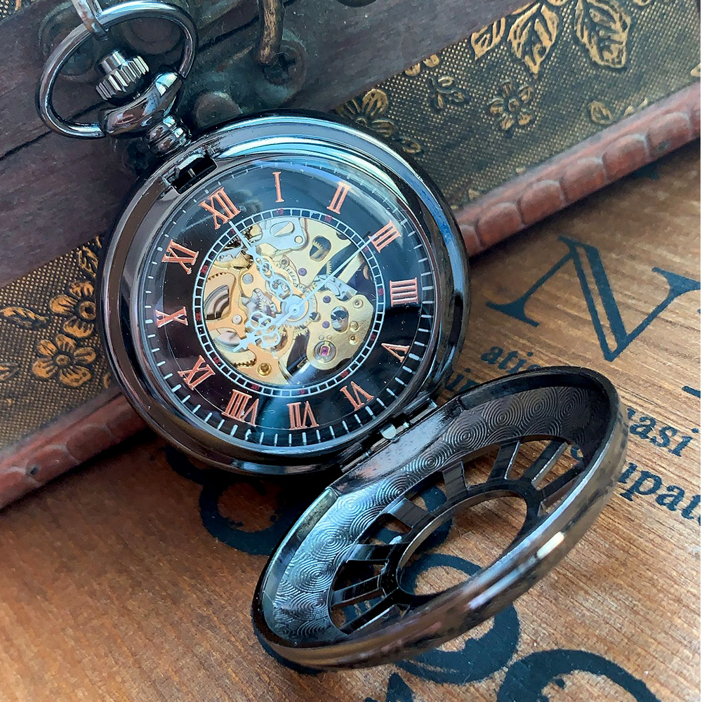 8931    Black Creative Wheel Open Cover Mechanical Pocket Watch Men's And Women's Accessories With Necklace