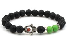 8mm hdf2 Hand Eye silver ball black stone volcanic lava nature black stone green turquoise Bracelet Reiki Chakra Fashion(China)