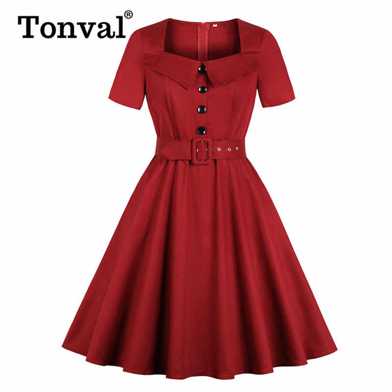 Tonval Pin Up Women Square Collar Button Front Belted 1950s Rockabilly Dress Short Sleeve Pocket Elegant Solid Vintage Dresses