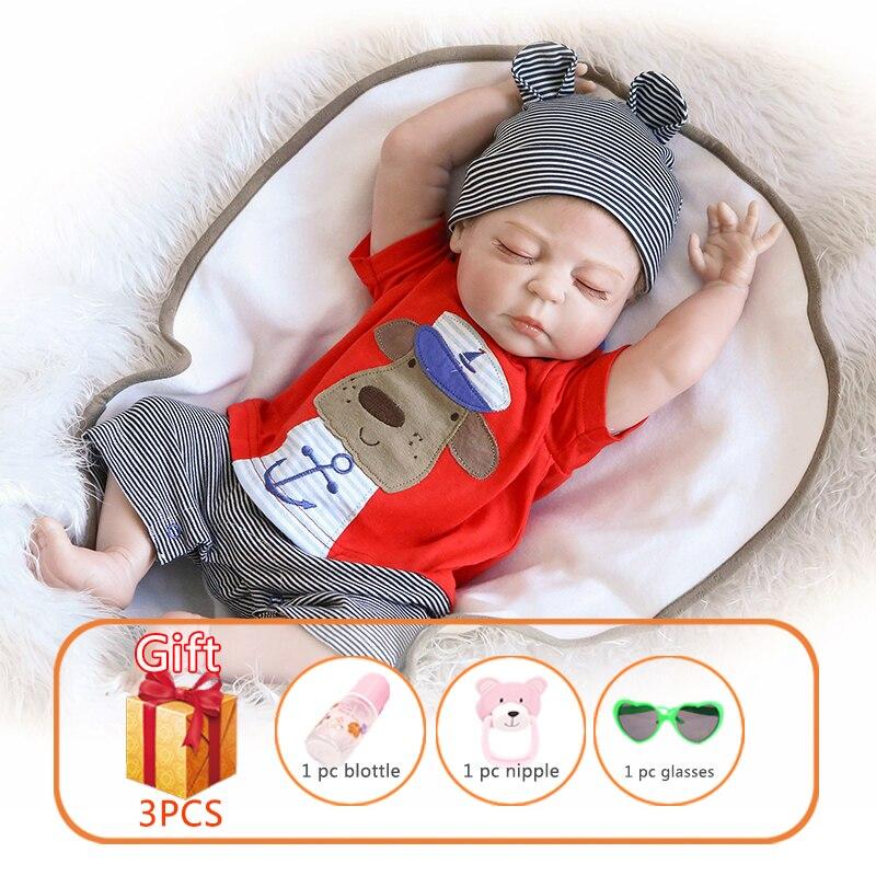 56cm npk reborn bebê boneca dormindo anjo inteiro silicone bonecas lifelike boneca do bebê macio simular real brinquedos do bebê para crianças