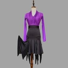 Women Latin Dance Skirt Tassel Ballroom Blouse Top Dancewear Salsa Tango Rumba 904-B080