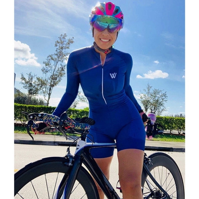 2019 Women's jumpsuit bicycle training outdoor triathlon long top with shorts perfect display quick-drying breathable 6