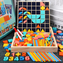 Colorful Puzzle Teaching Aids Wood Board Preschool Toy Exercise Baby Cognition of Color and Geometry imagination цена