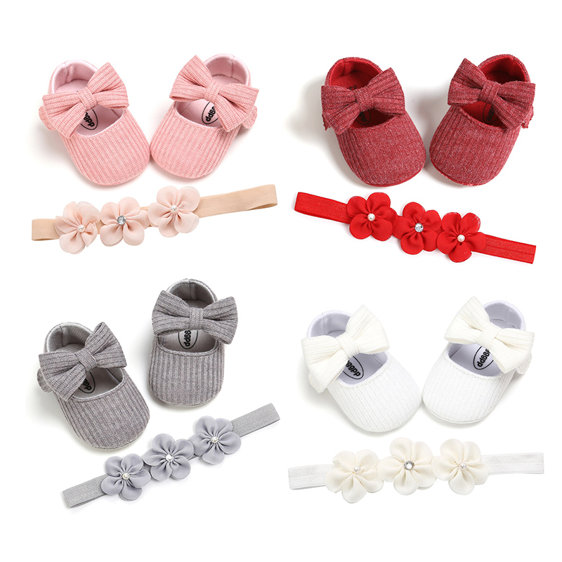 Toddler Kids Baby Girls Footwear Bowknot Shoes +Headband 2PCS Lace Floral Soft Shoes Spring First Walkers 0-18M