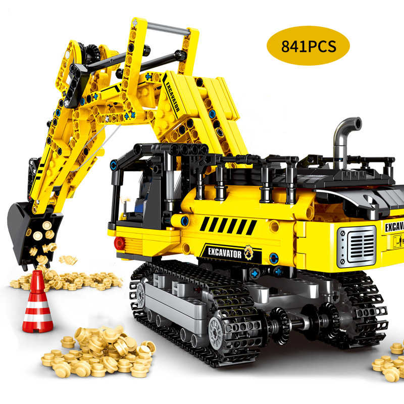 Engineering Technic Series Building Blocks Excavator Crane Bricks Compatible LegoING DIY Blocks City Construction Toys For Kids