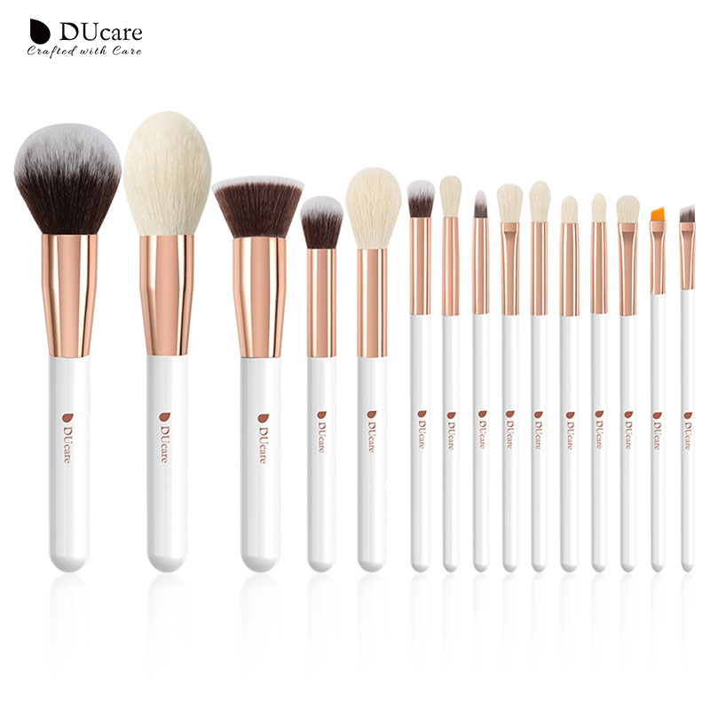 DUcare Brushes Pearl White 15PCS Makeup Brushes Set Professional Beauty Make Up Brush Natural Hair Foundation Powder Blushes