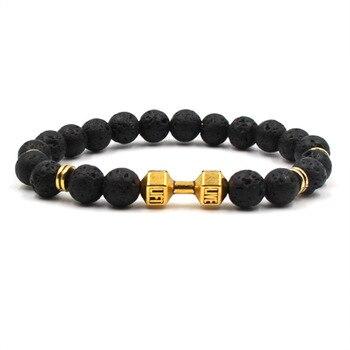 Fashion volcanic stone natural stone bracelet golden dumbbell lion head Pendant bracelet men's exercise jewelry bracelet