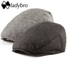 Ladybro מזדמן גברים Newsboy כובע אירי טוויד קיסוס כובע שטוח כובע סתיו חורף כובע גברים 30% צמר כובע נשים Visor כובע נשי עצם זכר