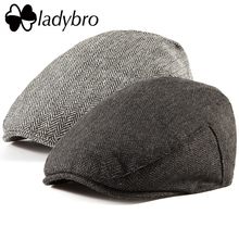Ladybro عادية الرجال موزع الصحف قبعة الأيرلندية تويد اللبلاب قبعة مسطحة الخريف الشتاء قبعة الرجال 30% الصوف قبعة المرأة قناع قبعة الإناث العظام الذكور