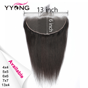Yyong Peruvian Straight 5x5 6x6 Human Hair Lace Frontal Closure 13x6 Ear To Ear Lace Frontal Medium Brown Lace Remy Can Bleached(China)