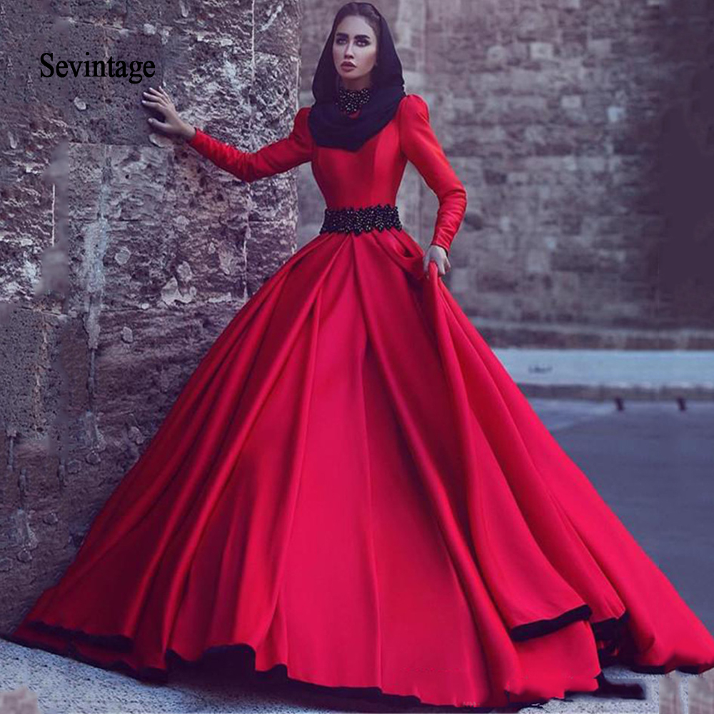 Sevintage Red Arabic Evening Dresses Black Beaded Formal Party Dress Ball Gown Long Sleeves Muslim Prom Gowns abendkleider