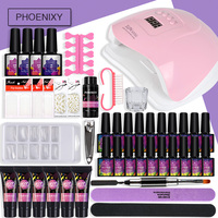 Full Manicure Set Poly Gel Nail Set With 80w LED Dryer Lamp Semi Permanent Nail Extension Set Nail Gel Polish For Nail Art Tools