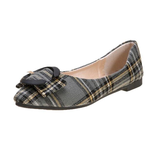2020 printemps nouvelle mode Plaid confortable léger sauvage tempérament peu profond pointu ensemble de pieds femmes chaussures simples