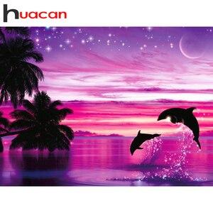 Huacan quadrado completo & redondo pintura diamante golfinho 5d diy diamante bordado decoração casa kit arte