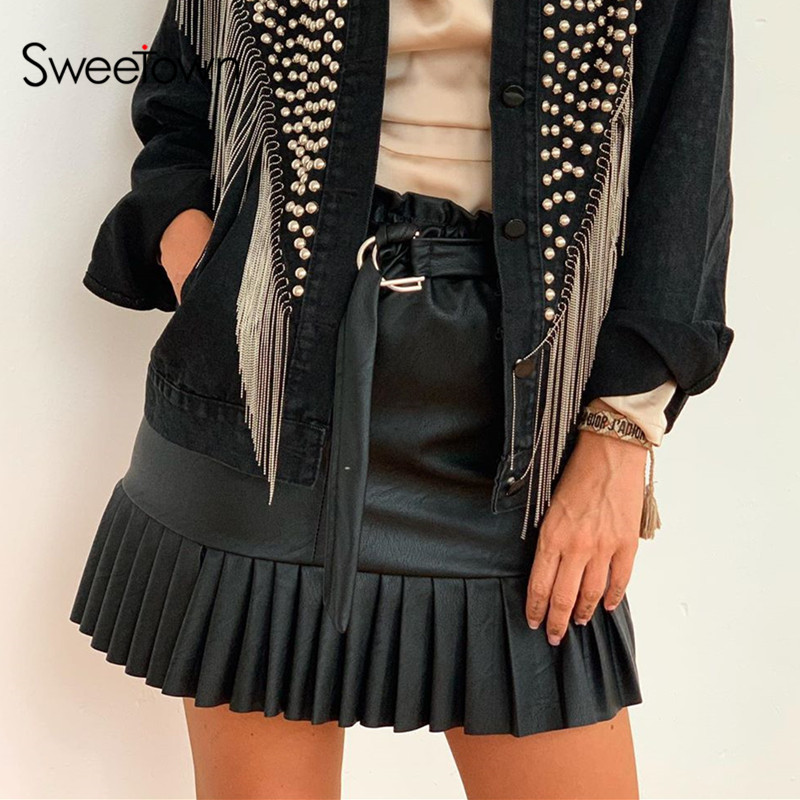 Sweetown Solid Pu Leather Pleated Skirts Womens Summer Fashion High Waist Mini Skirt With Sashes Punk Gothic Streetwear Outfits