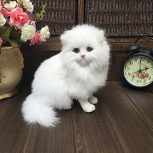 Realistic Plush Toy Simulation Cat Doll White Persian Cats Lifelike Kitten Model Birthday New Year Valentine's Day Gift Ornament