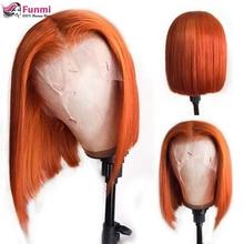 Gengibre laranja curto bob peruca brasileira em linha reta frente do laço peruca de cabelo humano 180% colorido perucas de cabelo humano pré-arrancado para preto