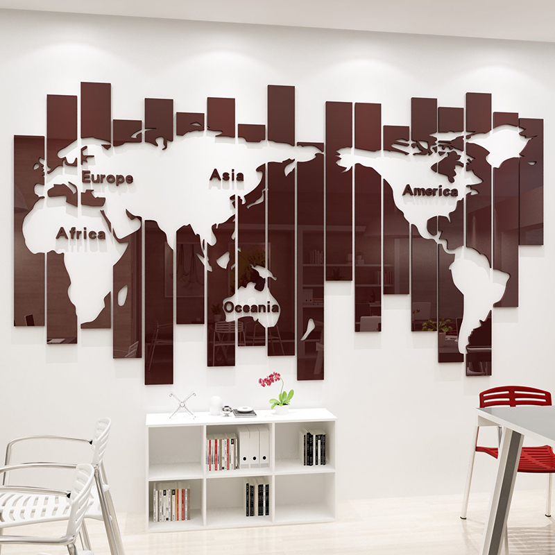 Creative world map acrylic wall sticker office decoration studio living room bedroom 3D three dimensiona Background wall sticker in Wall Stickers from Home Garden