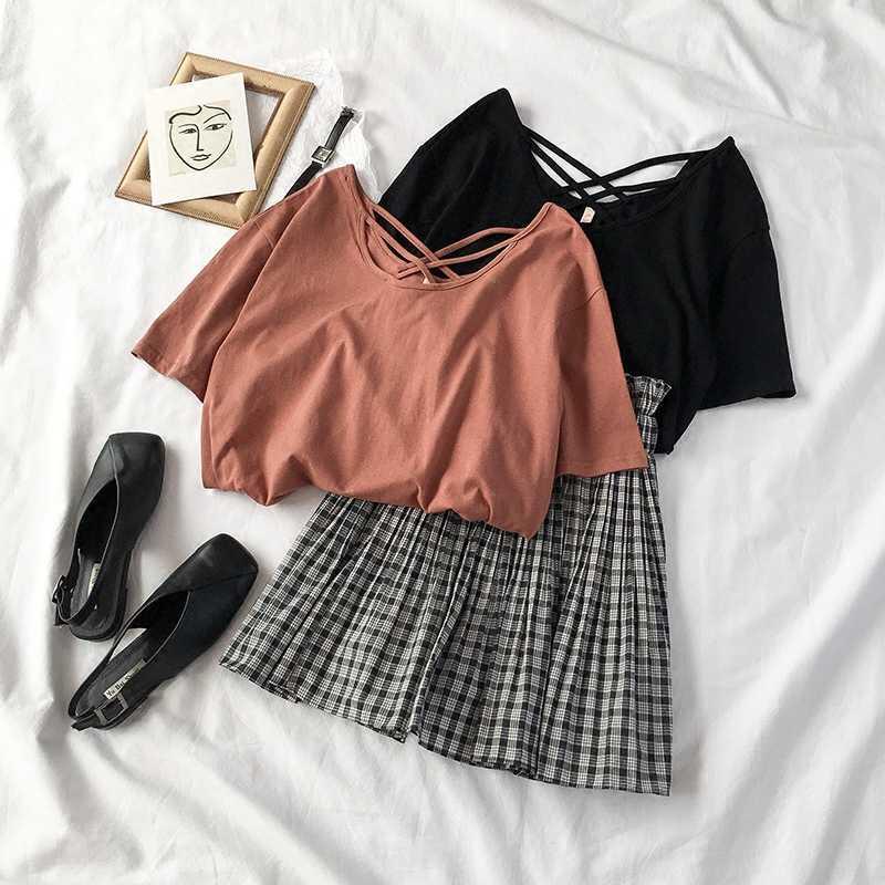 Harajuku Kawaii Student Solid T-shirt Plaid Mini Skirt Women 2 Pcs Set Sweet Girl Casual Two-piece Suit Ropa De Mujer 2020