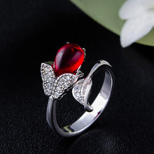 Luxury Female Leaf Flower Adjustable Ring 100% Real 925 Sterling Silver Engagement Rings For Women Ruby Red Wedding Band Ring(China)