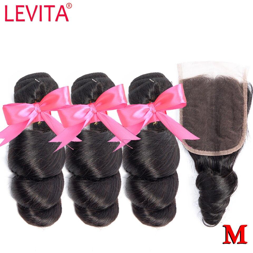 Loose Wave 3 Bundles With Closure Brazilian Hair Weave Bundles With Closure 100% Human Hair Bundles With Closure Non-remy LEVITA