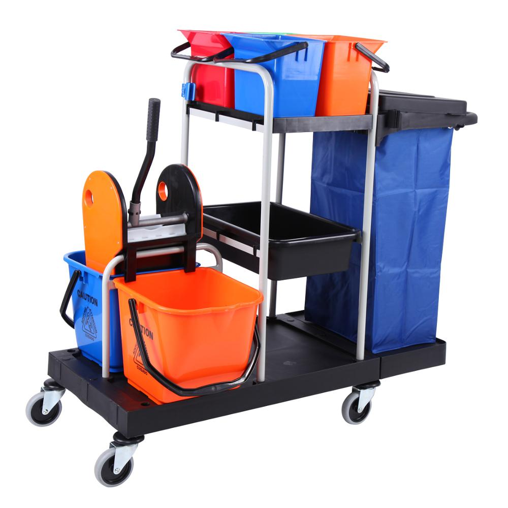 Yonntech Multi-function Trolley Cleaning Hygienic Trolley Cleaning Vehicle Tool Linen Car Hotel Service Car Bucket Cleaning