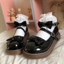 Sweet Lolita Shoes women Harajuku Cute shoes lolita shoes bow black platform shoes Loli Round Head Women Shoes Princess 2021