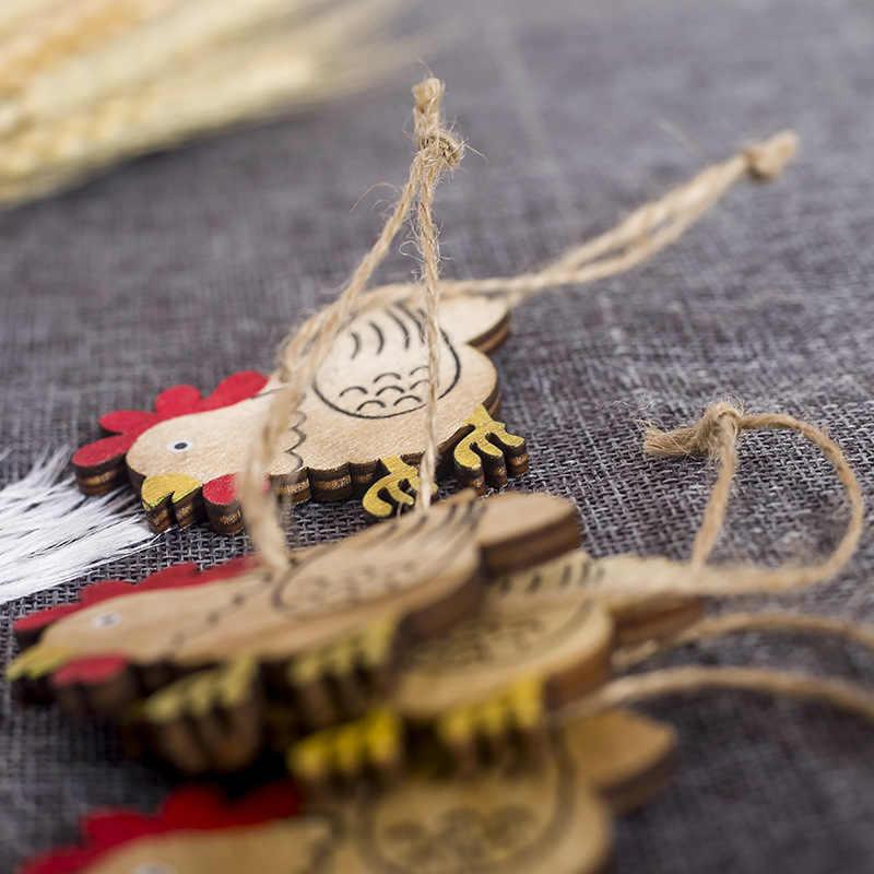 8 pièces pâques en bois décoration pendentif pâques lapin poussin oeufs bricolage bois artisanat heureux pâques fête décoration de la maison enfants jouets