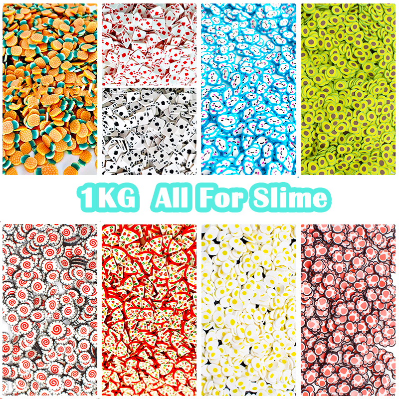 1KG Slime Fruit Slices Additives Soft Fimos Slices Charms For Nail Art Beauty Decor Slime Filler Supplies  Accessories Toys