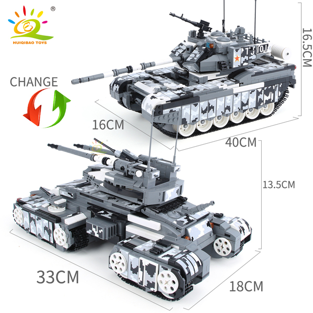 HUIQIBAO 1640pcs Military 99A Main Battle Tank Model Building Blocks WW2 Army 6 Soldier Bricks Construction Toys for children