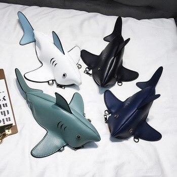 Funny Shark Women Shoulder Bags Cartoon Chain Messenger Bag Ladies Lovely PU leather Phone Crossbody Bolsas Femininas
