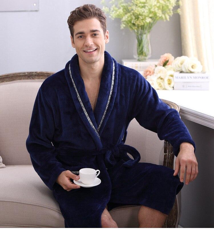 Thicken Coral Flannel Bath Robe Winter Autumn Casual Dressing Gown Long Bathrobes Women Men Sleepwear Robes