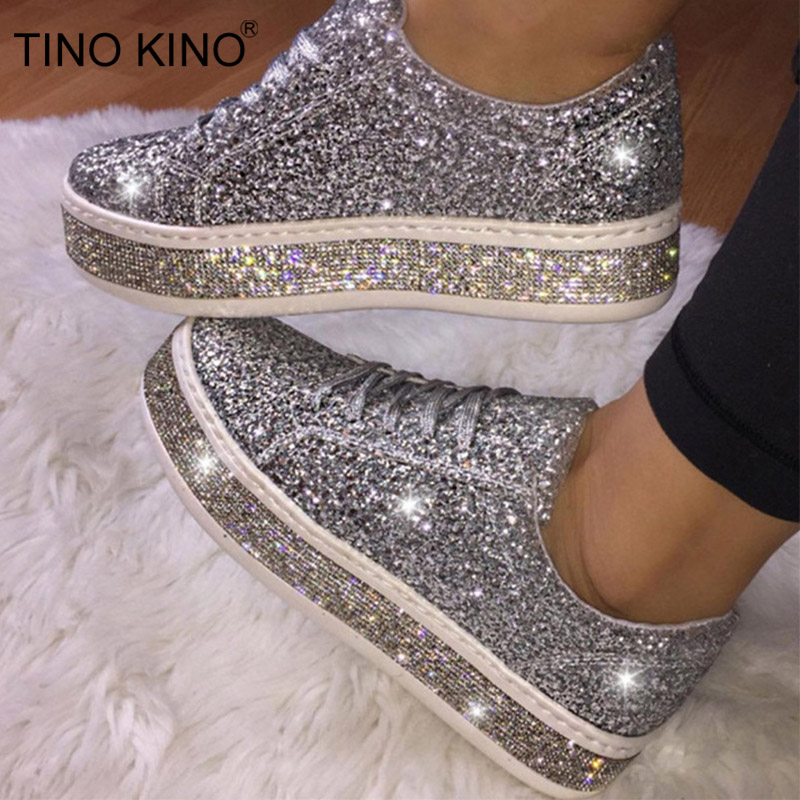 New Women Flat Sneakers New Platform Bling Summer Vulcanized Ladies Glitter Shoes Female Lace Up Casual Shoes Plus Size