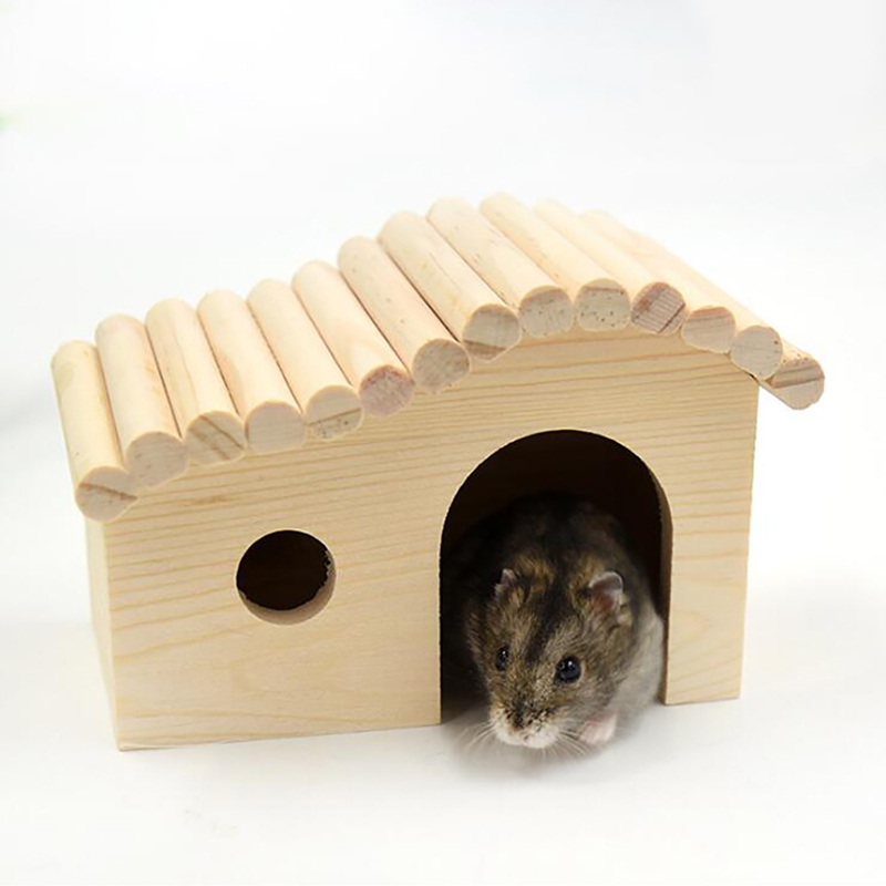 Hamster Small Pet House Hamsters Nest Wooden Nontoxic Small Solid Durable Cute Pet House Cottage Nest For Hamster Pets Mice