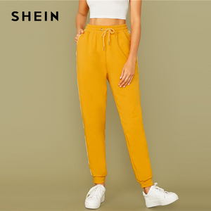 Image 3 - SHEIN Bright Yellow Drawstring Waist Contrast Piping Carrot Pants Women Autumn Active Wear High Waist Stretchy Casual Trousers