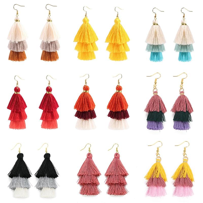 2020 3 Layered Bohemian Fringed Luxury Statement Tassel Earrings 2020  Boho Fashion Jewelry Women Long Drop Dangle Earrings