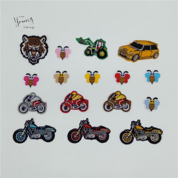 New arrive Cartoon Car Bee Patch Embroidery Sewing Applique Iron on patch DIY Hot melt adhesive Motifs Clothing Accessory Badges image