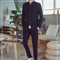 2019 New Fashion Stand Collar Tunic Suits Men Slim Fit Fashion Streetwear Mens Suits Jacket And Lace up Trousers Pants Sets 4XL