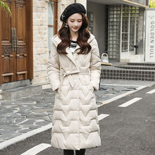Down-Jacket Long-Coats Women's Stand-Collar Hooded Female Plus-Size Winter Casual Solid