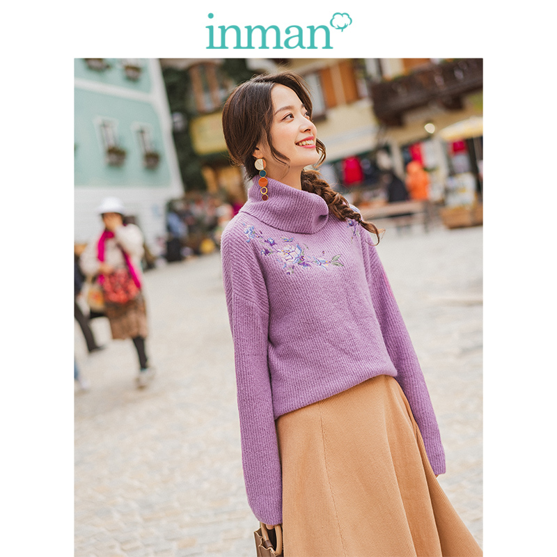 INMAN Winter Literary High Neck Drop-shoulder Sleeve Embroidery Loose Warm Women Pullover