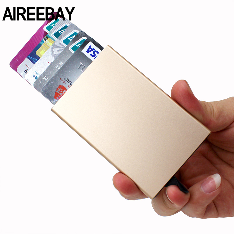 AIREEBAY Mult-card ID Holder Solid Color Automatic Pop-up Anti-theft Bank Card Box Mini Business Card Case ID Cardholder Women
