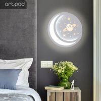 Modern Creative Book Shape Paint Wall Lamp With Drawing Moon Shape Design Dimmable Sconce Led With Colock For Bedroom Study