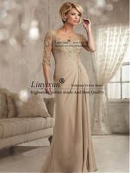 Бисерное кружево Шампанское мать невесты платья плюс размер 2020 шифон половинные рукава жениха длинное платье для крестной матери платье