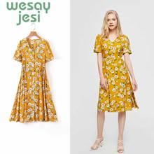 women summer dress vestidos vintage style floral print short sleeve v-neck de fiesta noche knee-length party