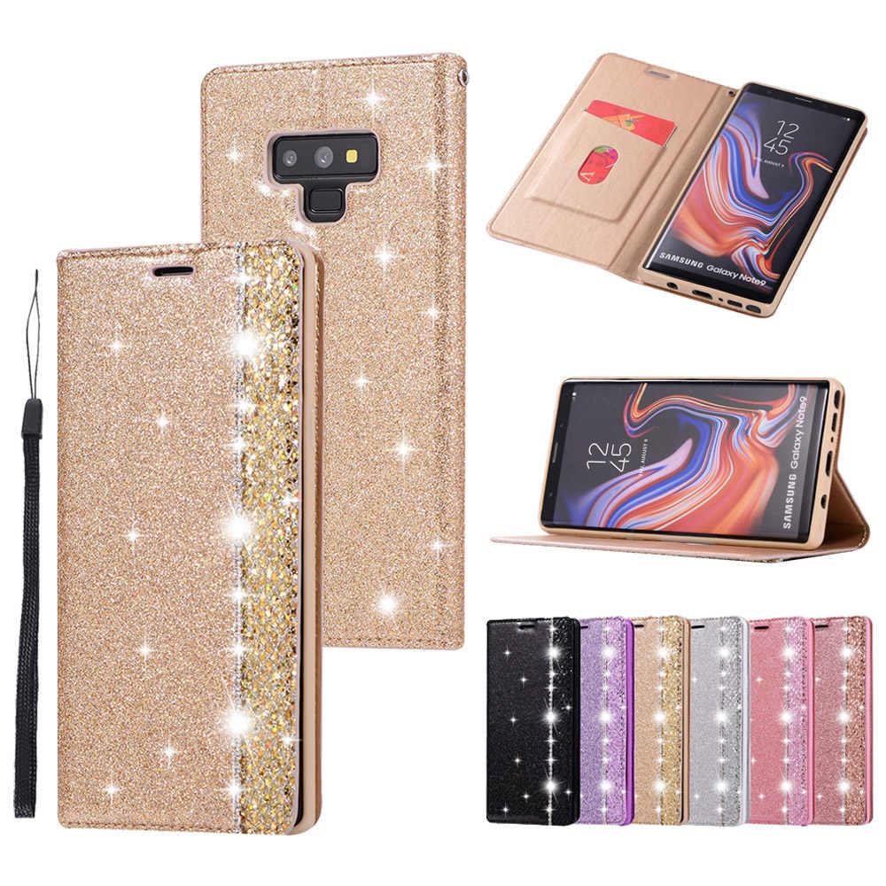 Portefeuille en cuir PU étui pour samsung Galaxy S10E S7 Edge S8 S9 Note 8 9 paillettes Silicone fente pour carte support Flip Cover
